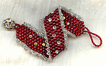 Red Needlewoven Bracelet with Austrian Crystals