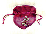 Sheer Iridescent Burgundy Gift Bag with Beaded Fern Motif