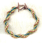 Spiral Bracelet: Coppper, Emerald and Olivene Beads