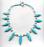 Graduated Turquoise Marquise Pendants and Sterling Collar Necklace
