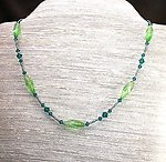 Xanadu: Long Crystal Necklace of Vintage Peridot and Teal Beads