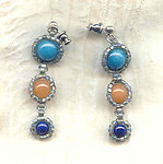 Mikado: Aqua, Chestnut, and Indigo Sterling Silver Dangle Earrings