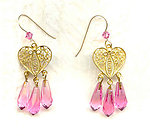 Vermeil Heart and Very Vintage Rose Crystal Drops Dangle Earrings