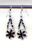 Starflower Earrings: Jet black Swarovski Crystal and Sterling Silver