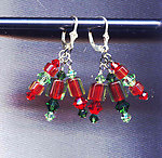 Bright Red, Dark Green Cane Glass and Crystals Dangle Earrings