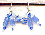 Sky Blue Opal Cane Glass, Blue and White Opal Crystal Dangle Earrings
