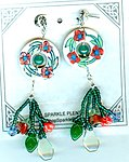 Handpainted Ivory and Coral Ceramic Boho Earrings with Floral Fringe