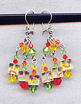 Dangle Earrings with Citrus Colored Glass Cubes and Swarovski Crystals