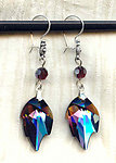 Handcrafted Burgundy Vitrail Swarovski Crystal Leaf Earrings