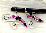 Dangle Earrings with Evening Attitude: Fuchsia and Black Glass