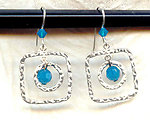 Hammered Sterling Silver Geometric Earrings with Swarovski Crystals