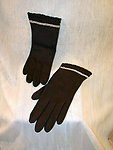Vintage Brown Day Gloves With Pearl Embroidery