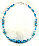 Exquisite Ultramarine and Aqua Lampwork Bead Necklace
