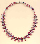 Ruby Crystal and Amethyst Pearl Woven Fantasy Necklace