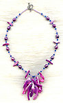 Purple Pearls and Mother of Pearl Shards Tassel Necklace