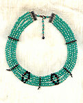 Light Emerald and Jet 5-Strand Crystal Collar Necklace