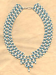ATALANTA: Teal and Ivory Netted Seed Bead Collar Necklace