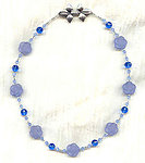 Vintage Light Sapphire Lucite Roses and Sapphire Crystal Necklace