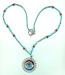 Red Resin and Turquoise Enamel Round Pewter Pendant Necklace
