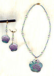 VIOLET PEONIES JEWELRY SET: Misty Blue Pendants and Swarovski Crystals