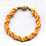 Spiral Bracelet: Tiny Gold, Topaz and Red Beads