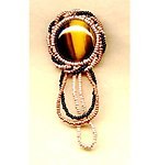 Elegant Tigereye Hand Beaded Pin with Looped Fringe