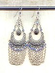 Seraglio Sterling Silver Earrings: Marcasite and Swags of Chain