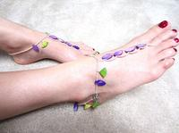 Adjustable Slave Anklets Barefoot Sandals Bright Mother of Pearl Beads