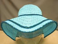 Adorable Turquoise Womens Beaded Straw Beach Hat