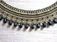Bead Woven Collar Statement Necklace Black Bronze Egyptian OOAK