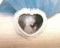Cameo Brooch Hand Beaded Heart Shaped Hand Carved Shell