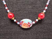Beaded Necklace Opalite Glass Hand Painted Red Rose