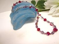 Beaded Necklace Vintage Swarovski Crystals Ruby and Cardinal Purple