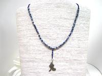 Bead Necklace Year of the Rabbit Hare Chinese Pendant Sodalite