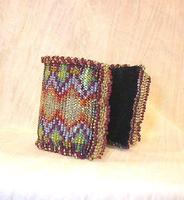 Arabesque Beaded Bracelet: Jewel Tones over Silver Cuff