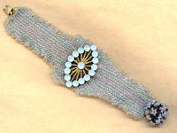 Shimmering Violet and Aqua Beaded Bracelet
