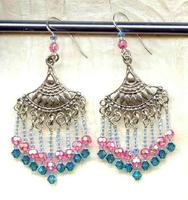 Sterling Egyptian Lotus and Crystal Beaded Earrings