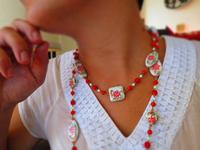 Beaded Necklace Flapper Length Hand Painted Poinsettia Beads