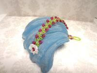 Bead Work Bracelet Flowering Vine Peridot and Fuchsia