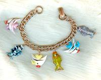 Unique Handmade Lampwork Glass Colourful Tropical Fish Charm Bracelet