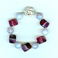 Lavender opal and Garnet Vintage Glass Chunky Beaded Bracelet