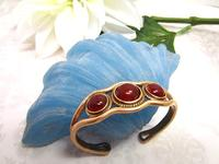 Bronze Cuff Bracelet set with Carnelian Cabochons