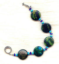 Iron Magnesite Bracelet:  Beautiful Blue and Green Swirls