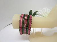Handmade Bracelet Olive and Rose with a Hint of Sparkle