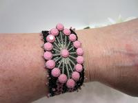 Art Deco Inspired Vintage Swarovski Crystal Rose and Black Netted Bracelet