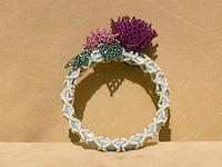 Blue Bangle with Ivory Netting, Pink PomPom Flowers and Emerald Leaves