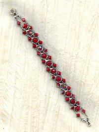 Hand Crafted Vintage Opaque Red Swarovski Crystals Bracelet