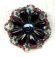 Vintage Style Dark and Light Amethyst, Fuchsia Crystal Brooch Pin