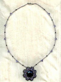 Artisan Crafted Pendant Necklace: Tanzanite, Jet Vintage Crystal Beads