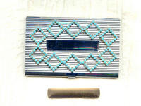 Business Card Case with Vintage Turquoise Swarovski Crystal Trim